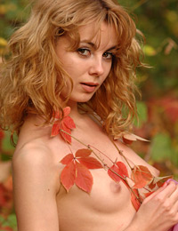 Model iva in red autumn